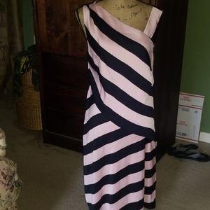 St. John Pink Black Silk Stripe Sleeveless Dress